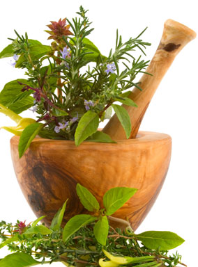 fines herbes, fresh with mortar and pestle