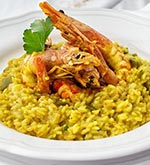 shrimp over saffron risotto