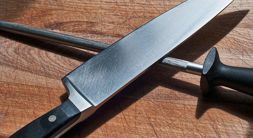 Chefs knife and sharpener