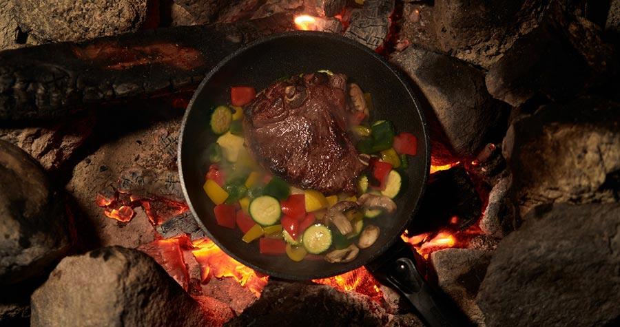 romantic dinner over fire